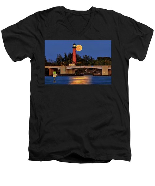 Full Moon Over Jupiter Lighthouse, Florida Men's V-Neck T-Shirt by Justin Kelefas
