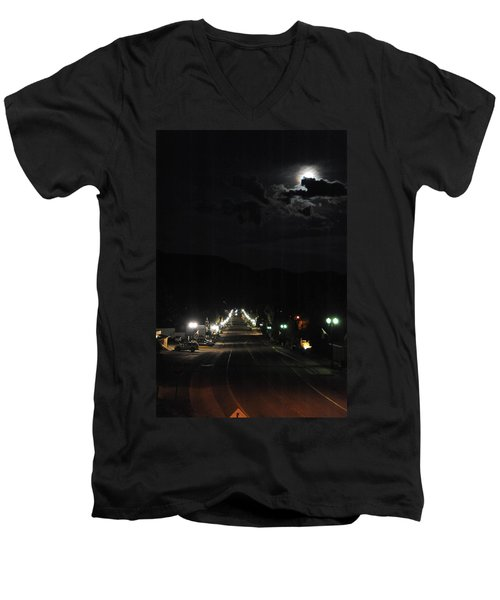 Full Moon Over Red River Men's V-Neck T-Shirt