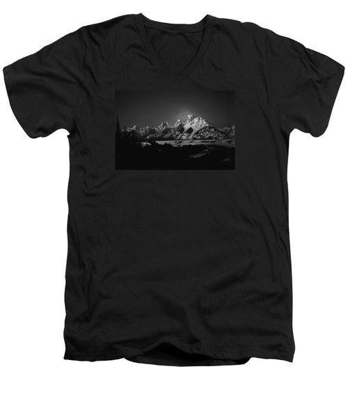 Full Moon Sets In The Tetons Men's V-Neck T-Shirt by Raymond Salani III