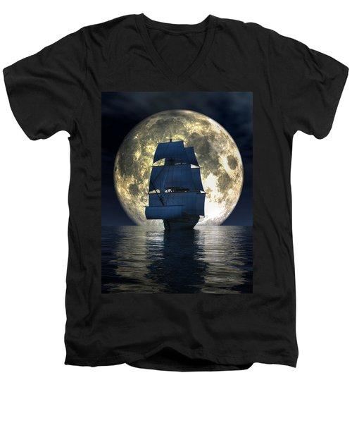 Full Moon Pirates Men's V-Neck T-Shirt