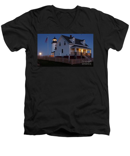 Full Moon Rise At Pemaquid Light, Bristol, Maine -150858 Men's V-Neck T-Shirt by John Bald