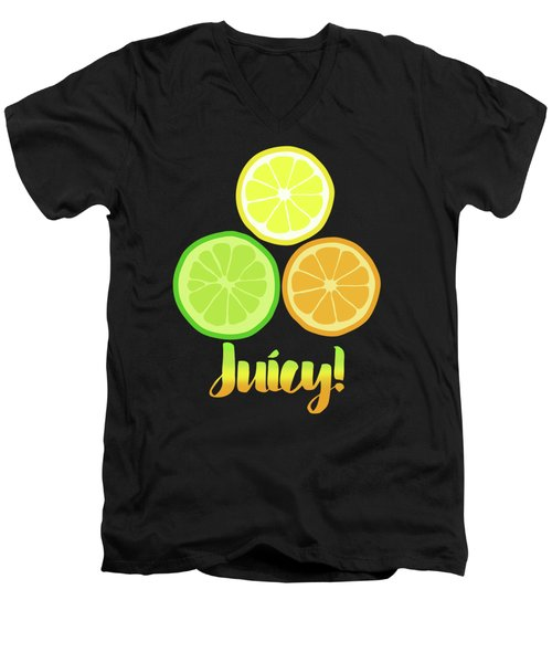 Fun Juicy Orange Lime Lemon Citrus Art Men's V-Neck T-Shirt