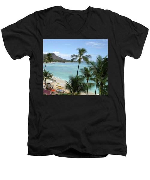 Fun Times On The Beach In Waikiki Men's V-Neck T-Shirt by Karen Nicholson