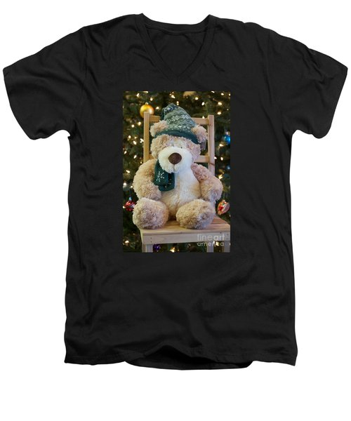 Men's V-Neck T-Shirt featuring the photograph Fuzzy Bear by Vinnie Oakes