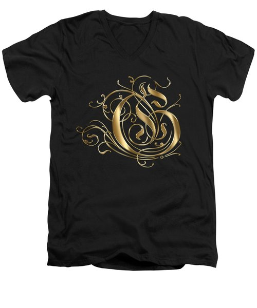 G Ornamental Letter Gold Typography Men's V-Neck T-Shirt