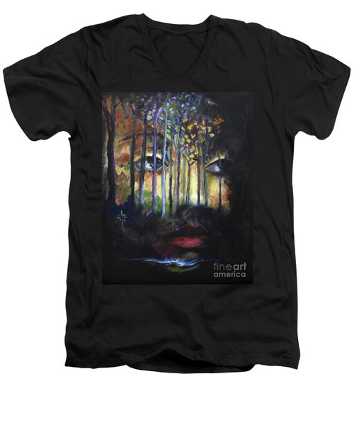 Men's V-Neck T-Shirt featuring the painting Gaia by Jodie Marie Anne Richardson Traugott          aka jm-ART