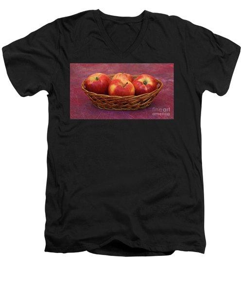 Gala Apple Basket Men's V-Neck T-Shirt by Ray Shrewsberry
