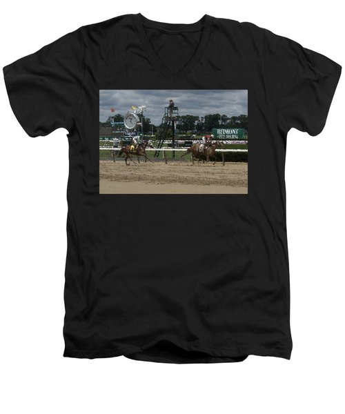 Men's V-Neck T-Shirt featuring the digital art Galloping Out Painting by  Newwwman