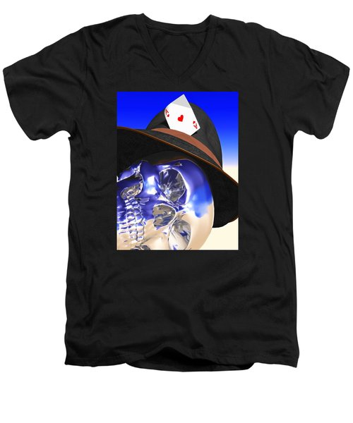 Men's V-Neck T-Shirt featuring the digital art Game Over by Andreas Thust