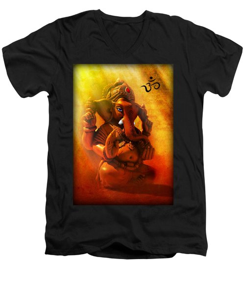 Ganesha Hindu God Asian Art Men's V-Neck T-Shirt