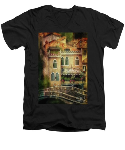 Men's V-Neck T-Shirt featuring the digital art Gardening Venice Style by Lois Bryan