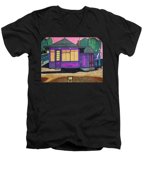 Gasoline Alley Mobil Oil. Historic Menominee Art. Men's V-Neck T-Shirt by Jonathon Hansen