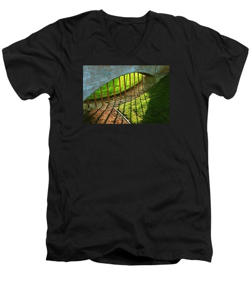 Men's V-Neck T-Shirt featuring the photograph Gate-redemption by Joseph Hawkins