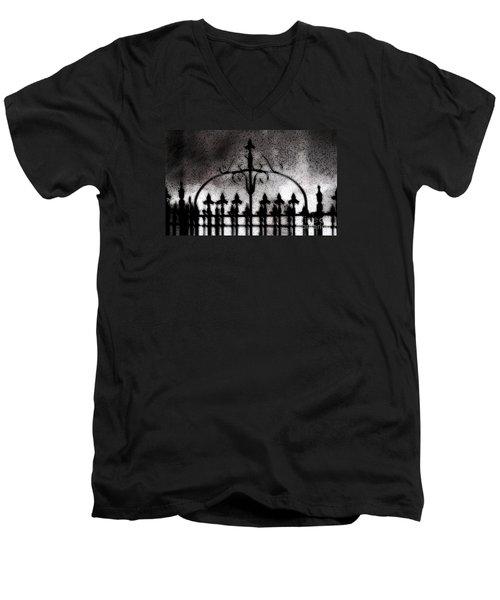 Gated Men's V-Neck T-Shirt by Linda Shafer