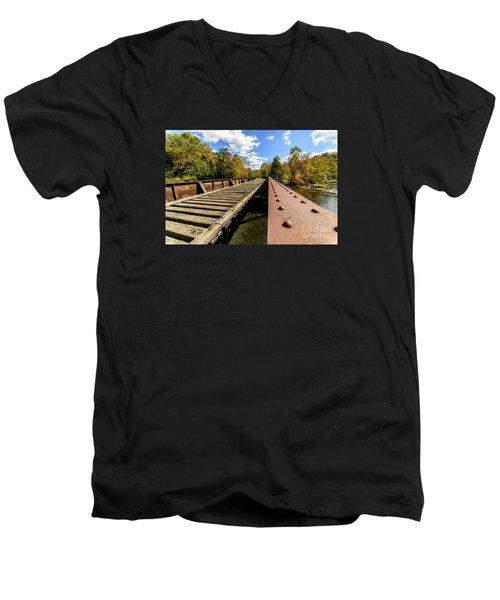 Gauley River Railroad Trestle Men's V-Neck T-Shirt by Thomas R Fletcher