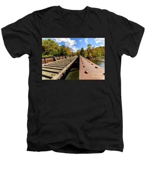Gauley River Railroad Trestle Men's V-Neck T-Shirt