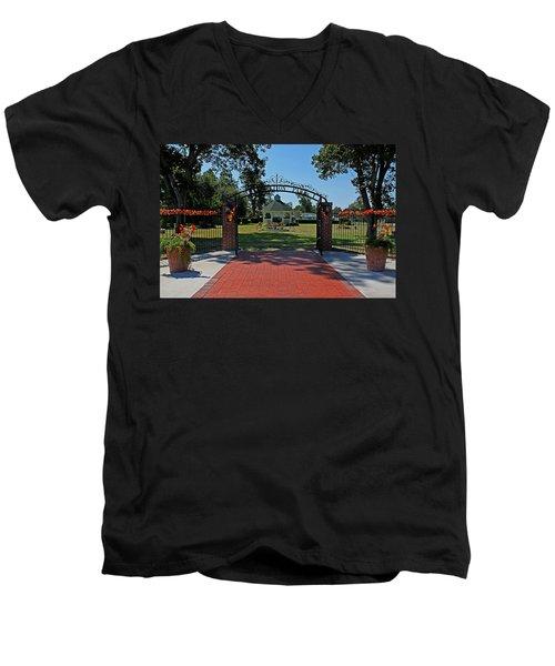 Men's V-Neck T-Shirt featuring the photograph Gazebo At Celebration Park by Judy Vincent