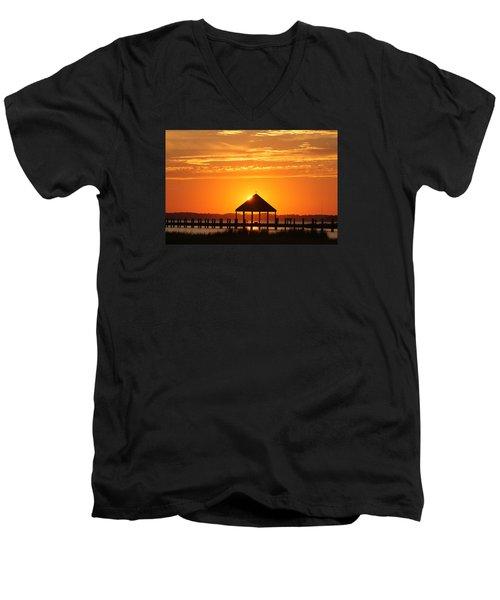 Men's V-Neck T-Shirt featuring the photograph Gazebo Sunset by Robert Banach