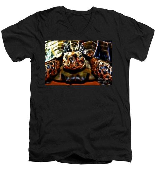 Gazing Turtle Men's V-Neck T-Shirt by Mariola Bitner