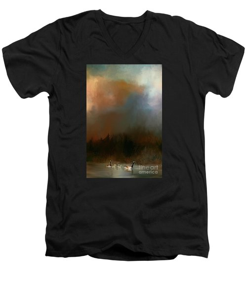 Men's V-Neck T-Shirt featuring the photograph Geese On A Nh Lake by Mim White