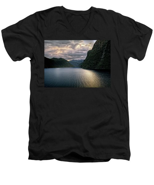Men's V-Neck T-Shirt featuring the photograph Geiranger Fjord by Jim Hill