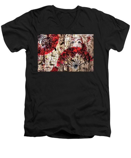 Geisha Grunge Men's V-Neck T-Shirt by Paula Ayers