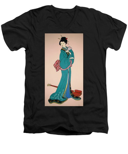 Men's V-Neck T-Shirt featuring the painting Geisha With Guitar by Stephanie Moore
