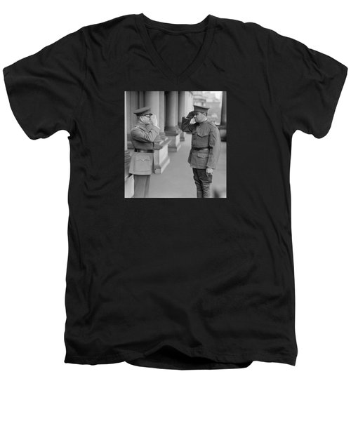General John Pershing Saluting Babe Ruth Men's V-Neck T-Shirt by War Is Hell Store