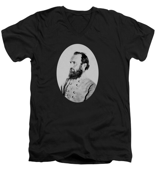 Men's V-Neck T-Shirt featuring the photograph General Thomas Stonewall Jackson by War Is Hell Store