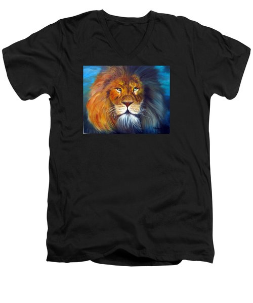 Men's V-Neck T-Shirt featuring the painting Gentle Lion King by LaVonne Hand