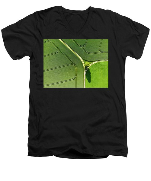 Geometric Landscape 05 Tree And Green Fields Aerial View Men's V-Neck T-Shirt