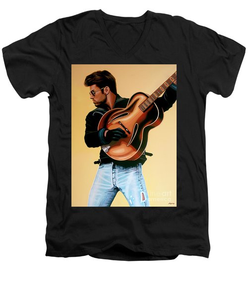 George Michael Painting Men's V-Neck T-Shirt by Paul Meijering