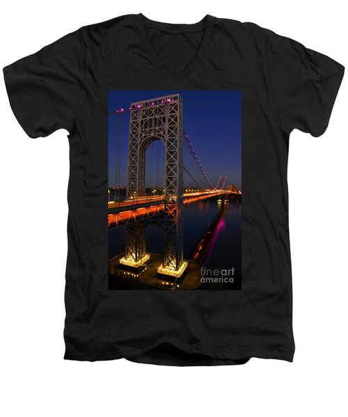 Men's V-Neck T-Shirt featuring the photograph George Washington Bridge At Night by Zawhaus Photography