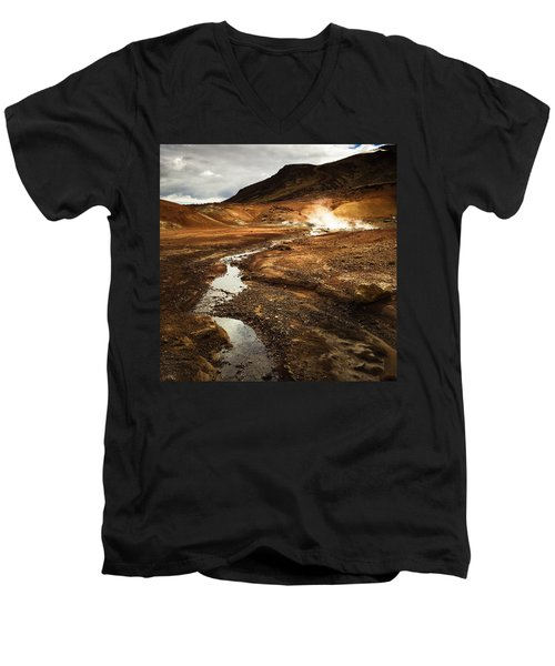 Geothermal Area Krysuvik In Iceland Men's V-Neck T-Shirt