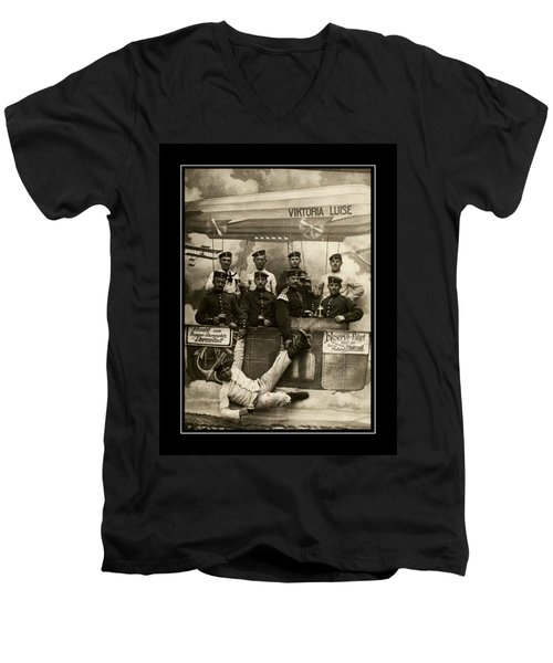 German Military Officers Zeppelin Crew 1913 Men's V-Neck T-Shirt