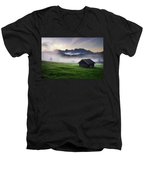 Geroldsee Forest With Beautiful Foggy Sunrise Over Mountain Peaks, Bavarian Alps, Bavaria, Germany. Men's V-Neck T-Shirt