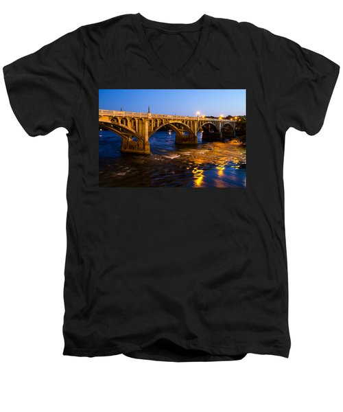 Gervais Street Bridge At Twilight Men's V-Neck T-Shirt