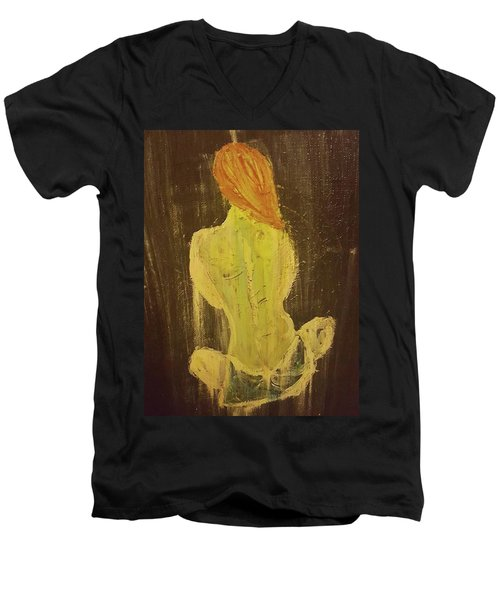 Silence Men's V-Neck T-Shirt by Jennifer Meckelvaney