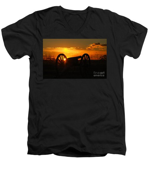 Men's V-Neck T-Shirt featuring the photograph Gettysburg Cannon Sunset by Randy Steele