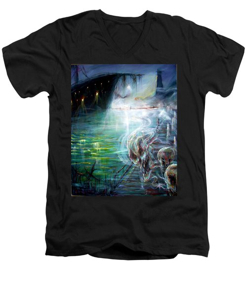 Men's V-Neck T-Shirt featuring the painting Ghost Ship 2 by Heather Calderon