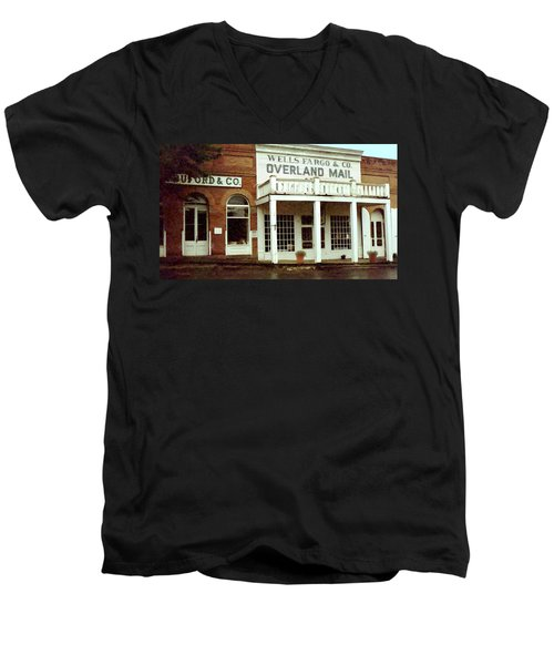Men's V-Neck T-Shirt featuring the digital art Ghost Town by Gary Baird