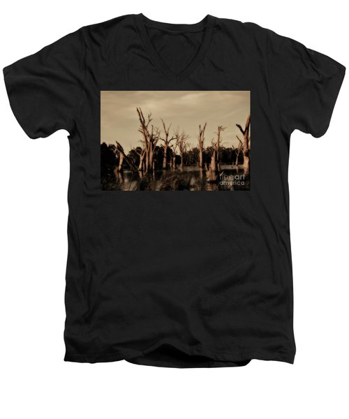 Men's V-Neck T-Shirt featuring the photograph Ghostly Trees V2 by Douglas Barnard