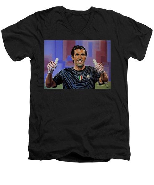Gianluigi Buffon Painting Men's V-Neck T-Shirt by Paul Meijering