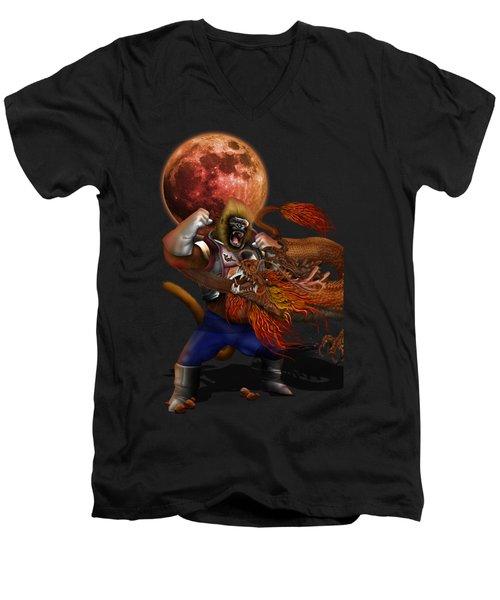 Giant Monkey Vs Shen Long Men's V-Neck T-Shirt