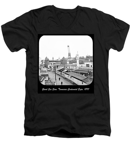 Men's V-Neck T-Shirt featuring the photograph Giant See Saw Tennessee Centennial Exposition 1897 by A Gurmankin