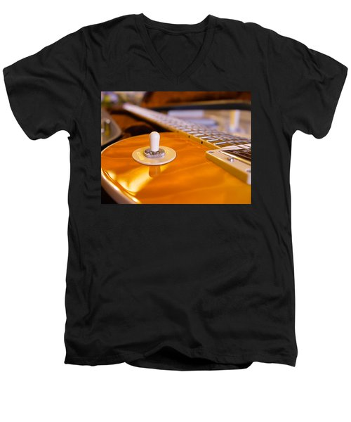 Yellow Quilt Guitar Top Men's V-Neck T-Shirt