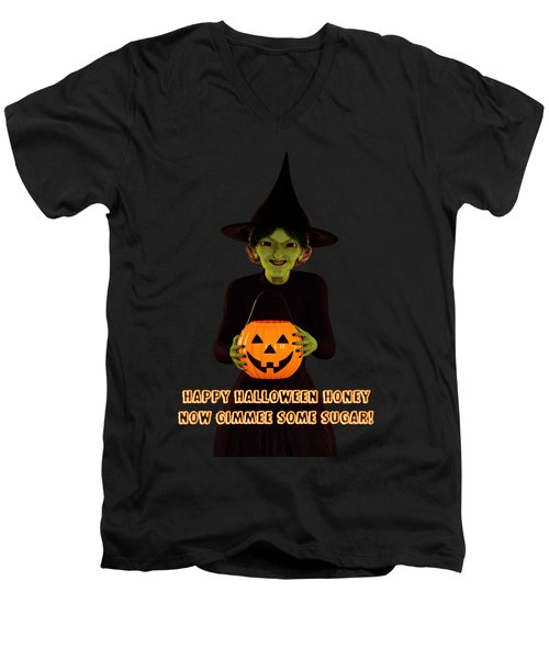 Men's V-Neck T-Shirt featuring the digital art Gimmee Some Sugar Witch by Methune Hively