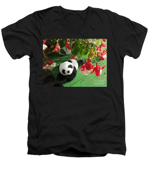 Men's V-Neck T-Shirt featuring the photograph Ginny Under The Red And White Fuchsia by Ausra Huntington nee Paulauskaite
