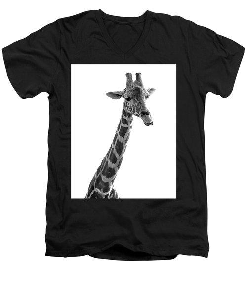 Giraffe In Black And White 3 Men's V-Neck T-Shirt