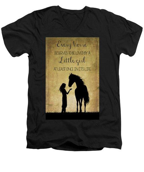 Girl And Horse Silhouette Men's V-Neck T-Shirt